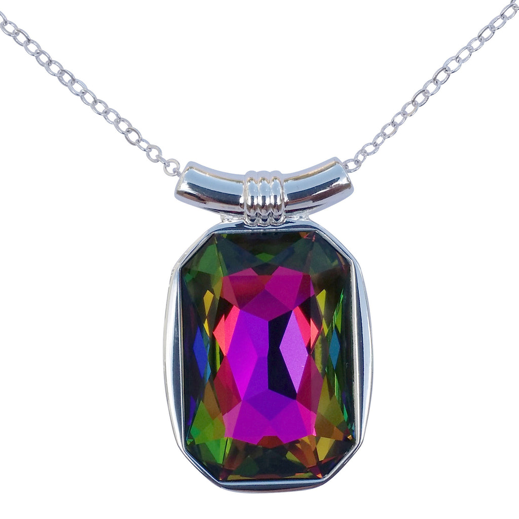 "DragonWeave Rainbow Swarovski Crystal Square/Emerald Cut Pendant on 18"" 2mm Silver-Plated Necklace"