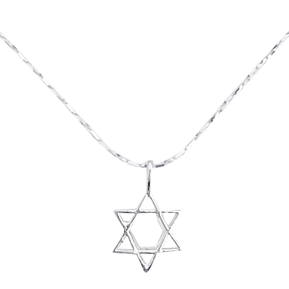 Sterling Silver Mini Star of David Pendant on Silver Cable Chain Necklace, 18""