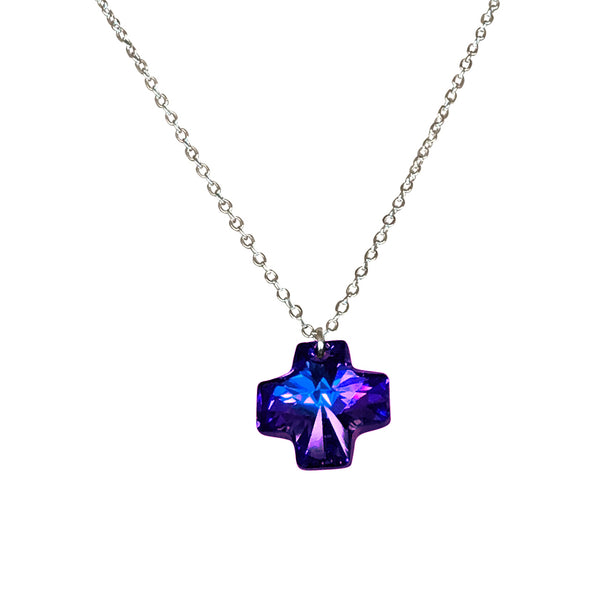 Deep Blue Swarovski Crystal Reversible Cross Charm Pendant on Silver Chain Necklace