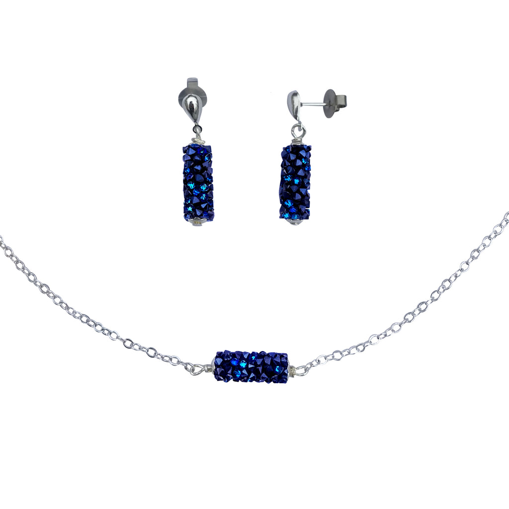 Ocean Blue Swarovski Crystal Druzy Silver Necklace and Earring Set