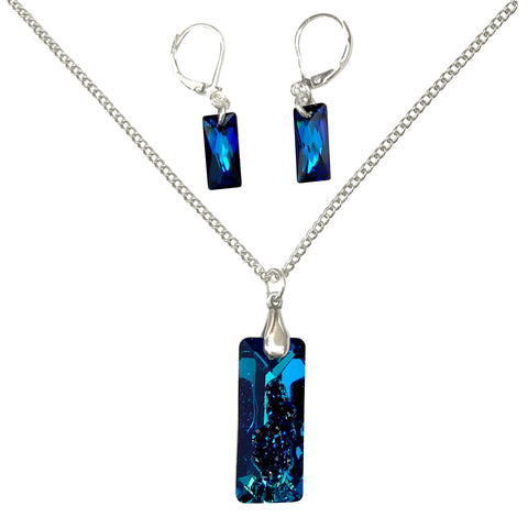 Deep Ocean Blue Swarovski Crystal Druzy Pendant Silver Necklace and Earrings Set