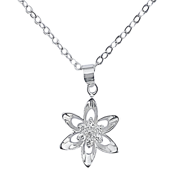 "Sterling Silver Mini Cubic Zirconia Flower Pendant on Silver Cable Chain Necklace, 18"" with Extender"