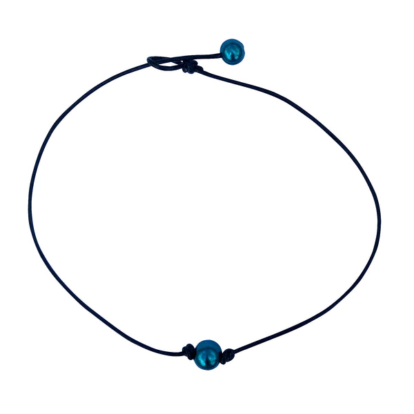 Single Teal Blue Pearl Leather Choker Necklace for Women and Girls Handmade