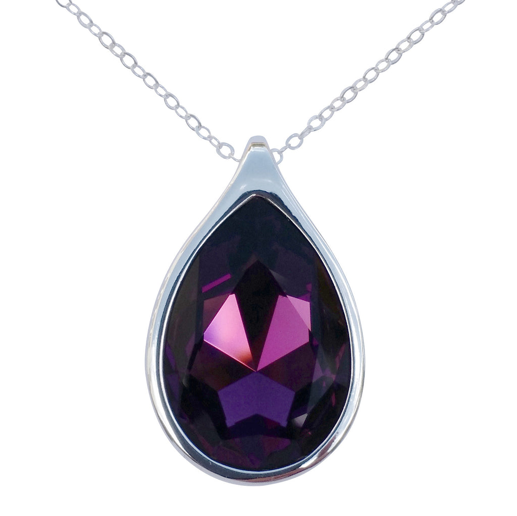 "Amethyst Swarovski Crystal Pear/Teardrop Pendant on 18"" 2mm Silver-Plated Necklace"