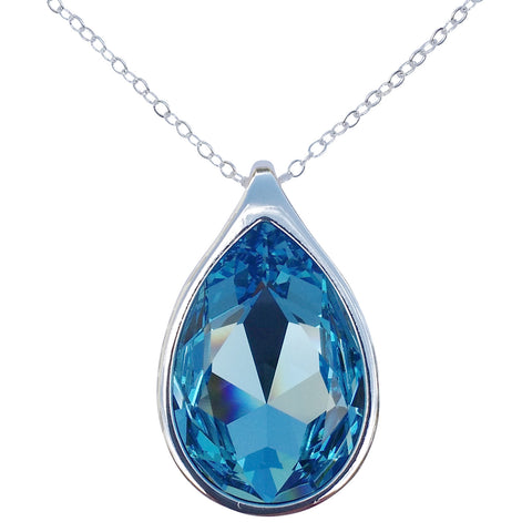 "Aquamarine Swarovski Crystal Pear/Teardrop Pendant on 18"" 2mm Silver-Plated Necklace"