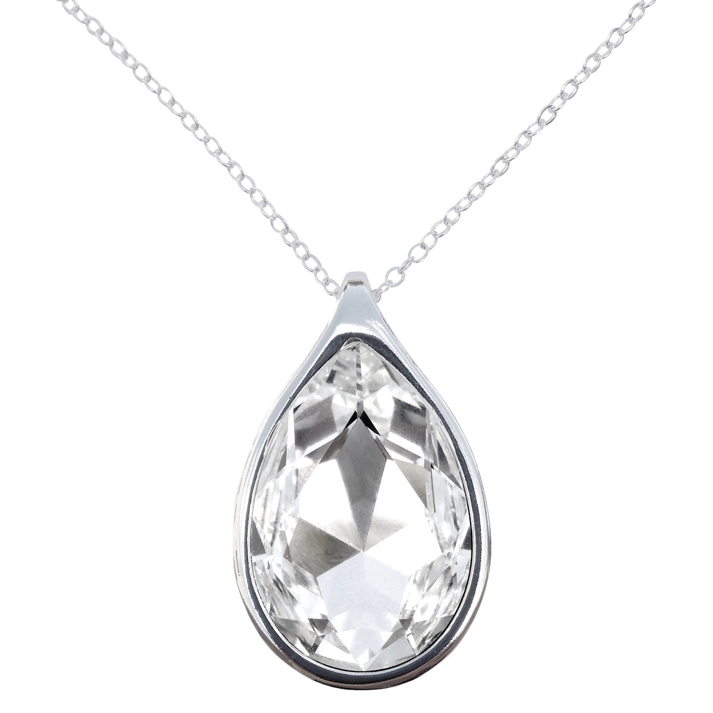 "Diamond Clear Swarovski Crystal Pear/Teardrop Pendant on 18"" 2mm Silver-Plated Necklace"