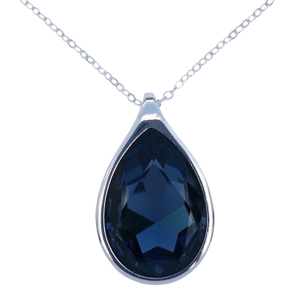 "Sapphire Blue Swarovski Crystal Pear/Teardrop Pendant on 18"" 2mm Silver-Plated Necklace"