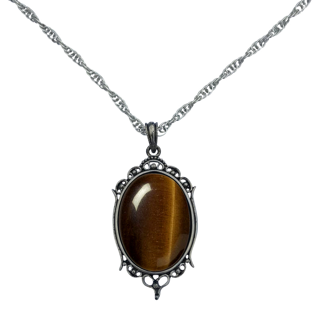 Antique Silver Tiger Eye Gemstone Cabochon Pendant on Fancy Rope Chain Necklace, 24""