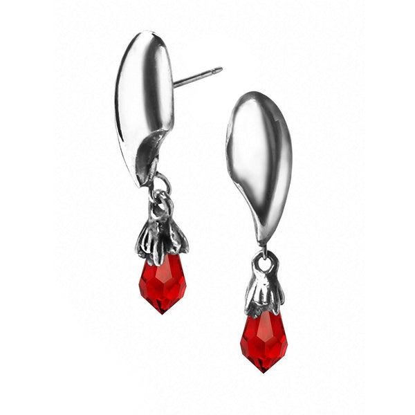 Vampretta Vampire Teeth Stud Red Crystal Earrings by Alchemy Gothic