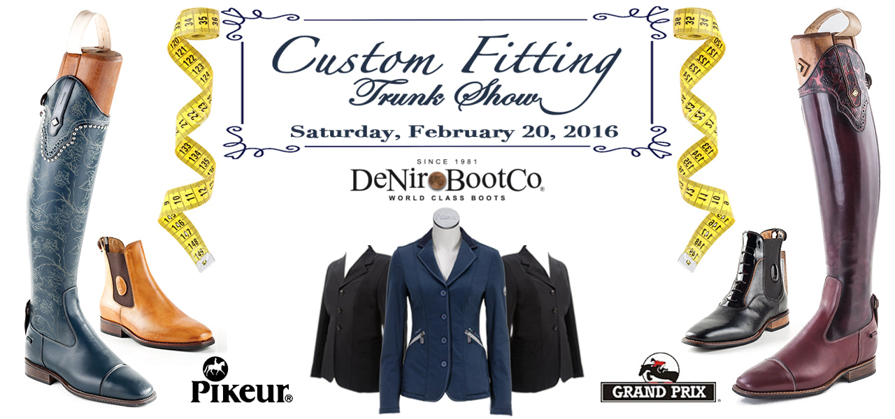 Custom Fitting Event and Trunk Show at Wyldewood Tack Shop - Lambertville, MI Michigan - DeNiro Boots, Grand Prix Riding Jackets, Pikeur Equestrian Clothes Clothing
