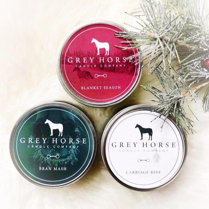 Grey Horse Candles - Holiday Tins