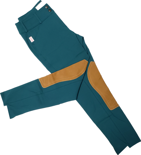 Tailored Sportsman Trophy Hunter Breeches - Dark Teal w/ Tan Patches