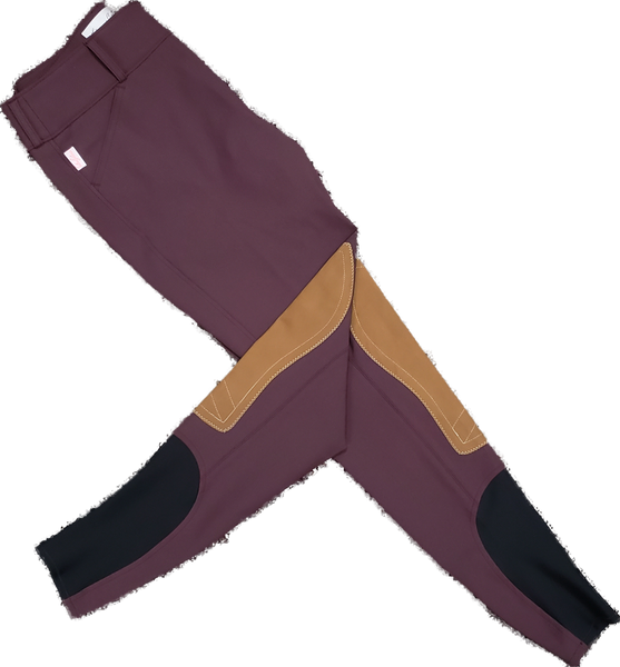 Tailored Sportsman Trophy Hunter Breeches - Bordeaux with Sock Bottom