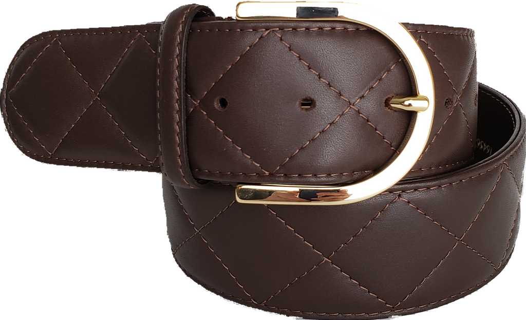 Tailored Sportsman Quilted C Belt - Espresso w/Gold Buckle