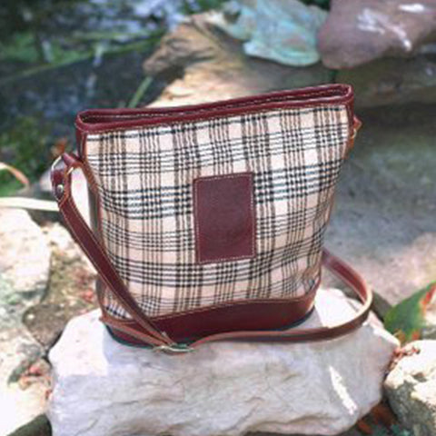 Baker Plaid Elizabeth Bag w/ Brown Leather Trim