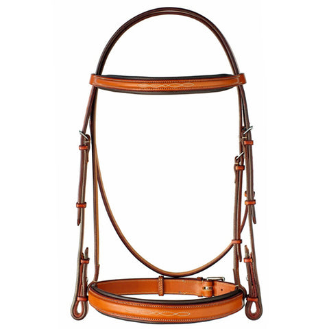 "Edgewood Leather 1"" Fancy Stitch Raised Bridle w/ Padded Crown - Oversize"