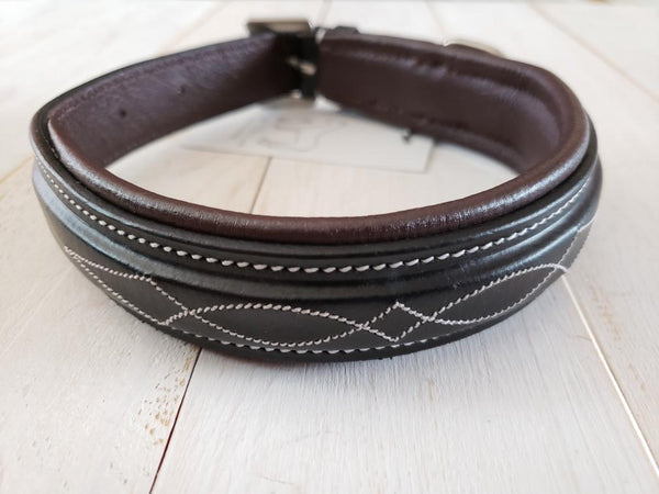 Pup & Pony Co. Derby Dog Collar -Black w/Oakbark Padding