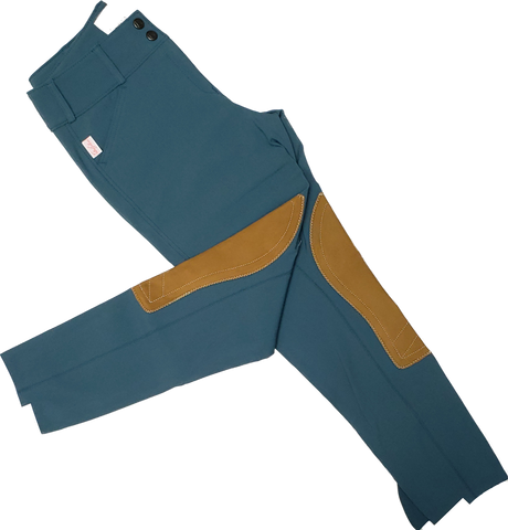Tailored Sportsman Trophy Hunter Breeches - Lake Blue w/ Tan Patches