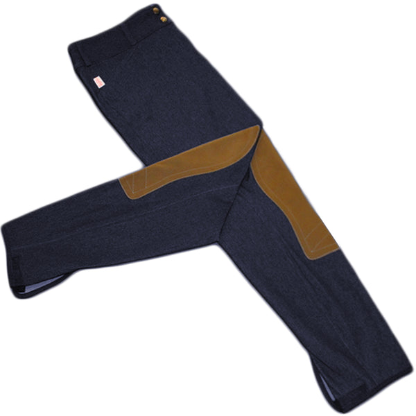 Tailored Sportsman Trophy Hunter Breeches - Mid Rise, Front Zip - Navy Micro Denim w/ Tan Patches
