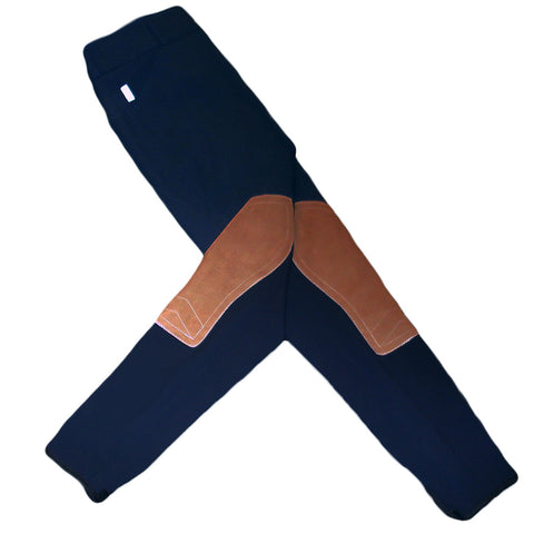 Tailored Sportsman Trophy Hunter Breeches - Black & Blue w/ Tan Patch