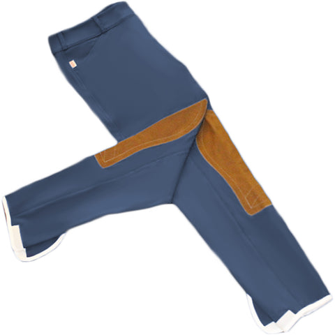Tailored Sportsman Trophy Hunter Breeches - Mid Rise, Side Zip - Bluebird w/ Tan Patches