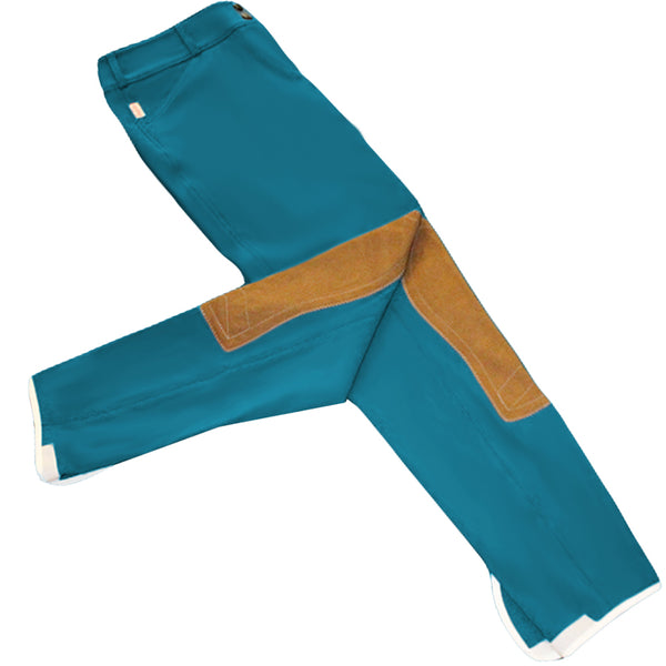 Tailored Sportsman Trophy Hunter Breeches - Low Rise, Front Zip - Peacock w/ Tan Patches