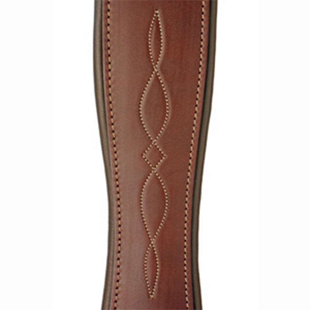 Edgewood Double Ended Elastic Fancy-Stitched Dark Havanna Leather Girth