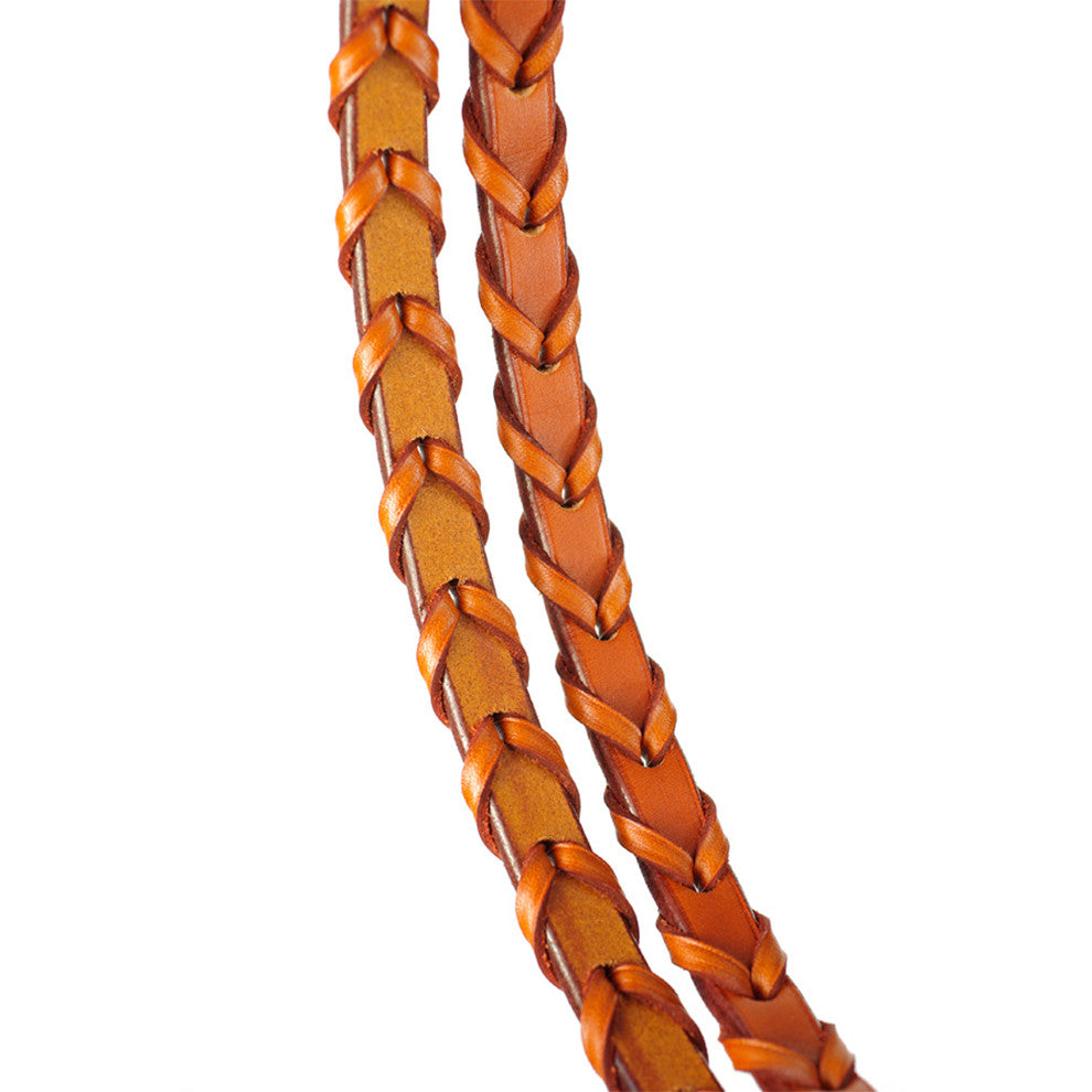 "Edgewood 5/8"" Plain-Stitched Flat Leather Laced Reins - Full Size"