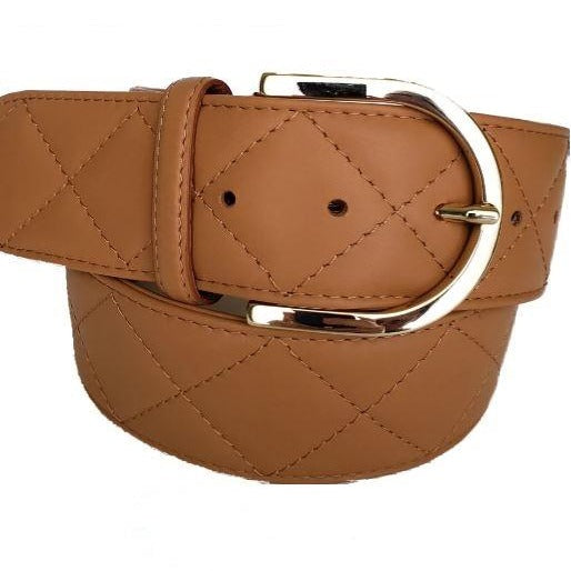 Tailored Sportsman Quilted C Belt - Saddle w/Gold Buckle