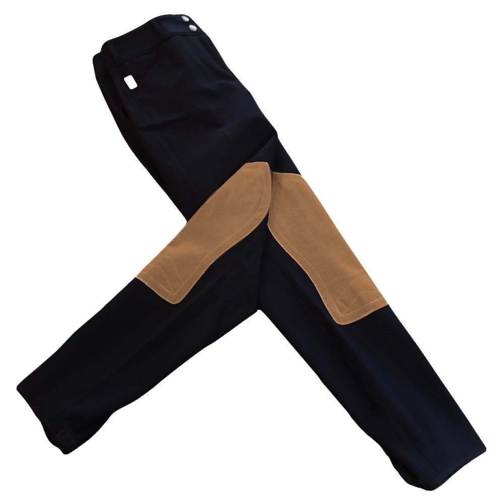 Tailored Sportsman Girls Trophy Hunter Breeches - Black w/ Tan Patches