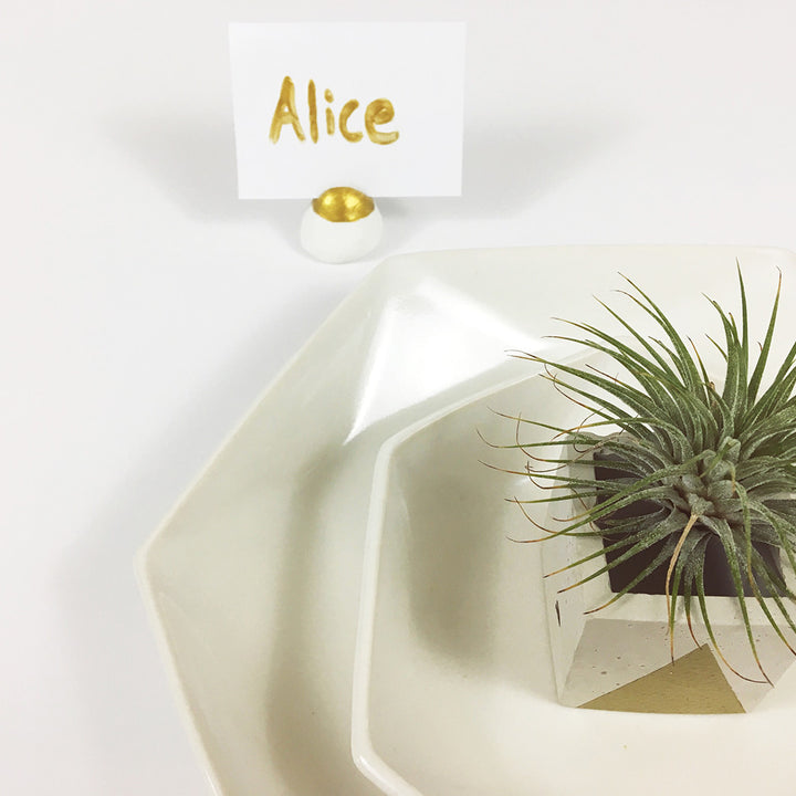 DIY: Gold Dipped Name Card Holders