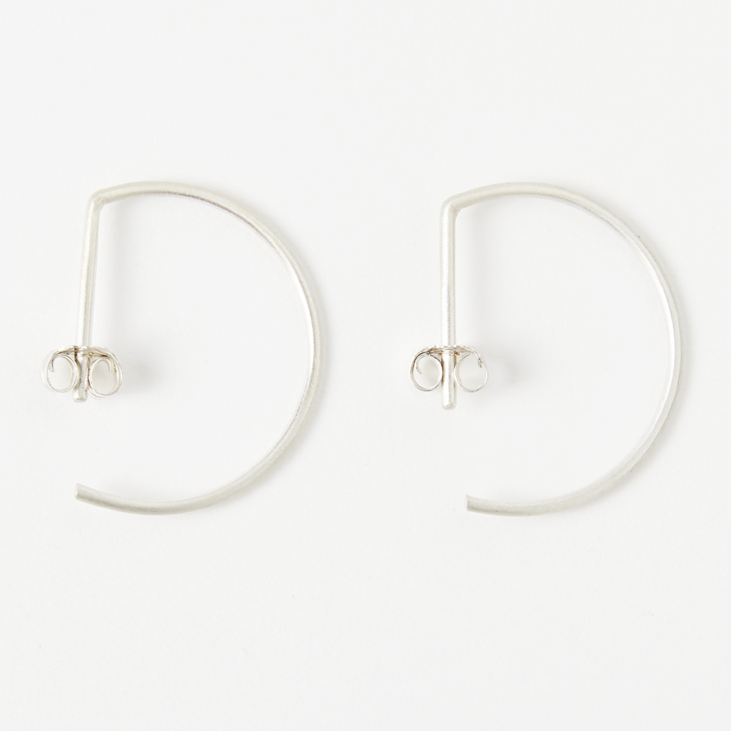 Matte Sterling Silver Hoop Earrings