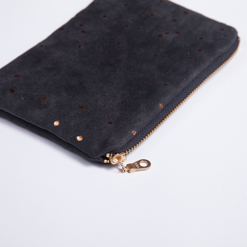 Black and Bronze Confetti Pouch