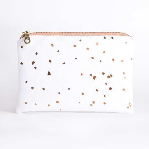 White and Bronze Confetti Pouch