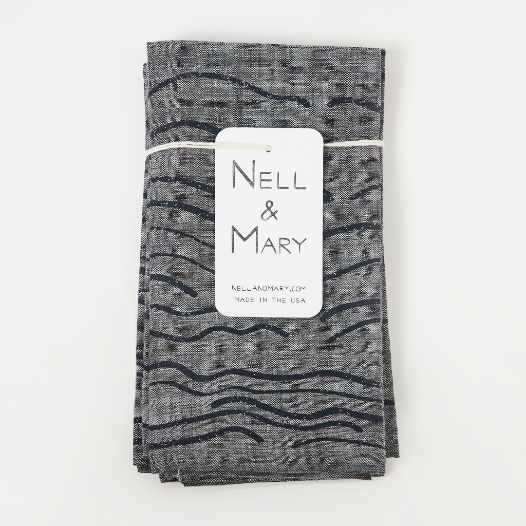 Set of 4 Grey Waves Napkins