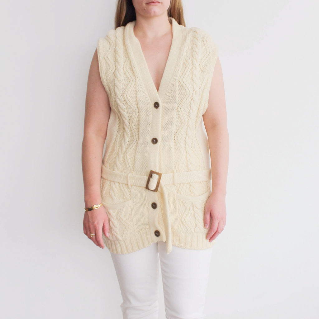 Vintage Cream Fishermans Sweater Vest