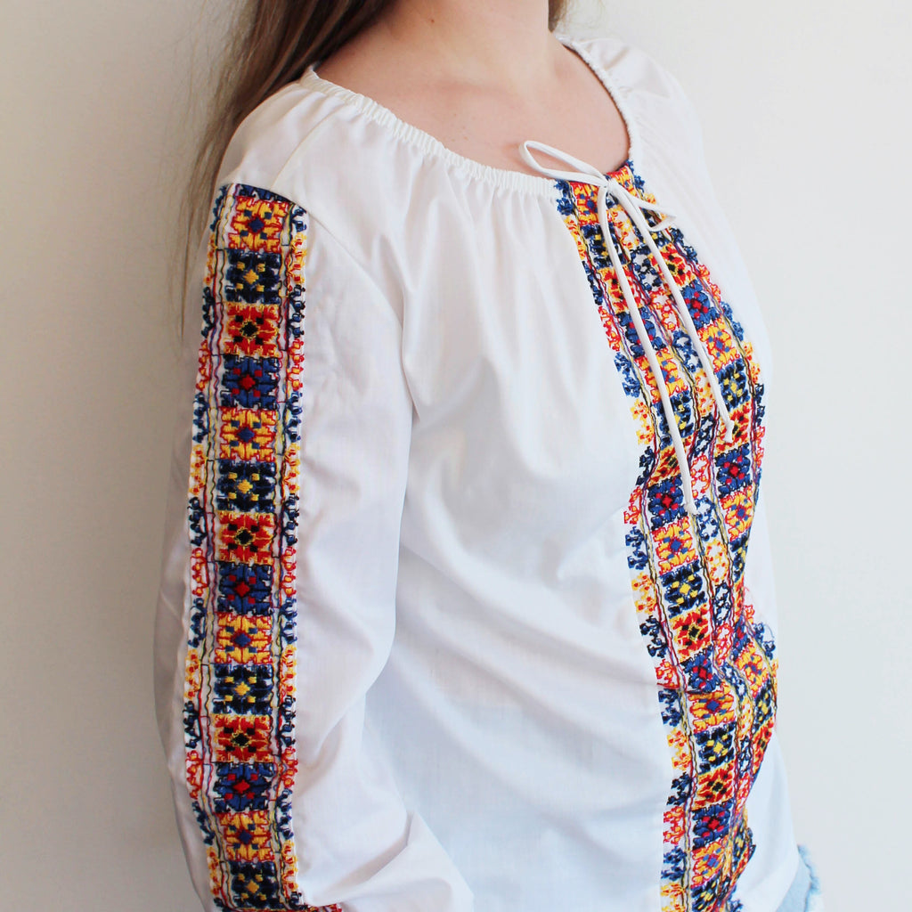 Vintage Colorful Embroidered Top