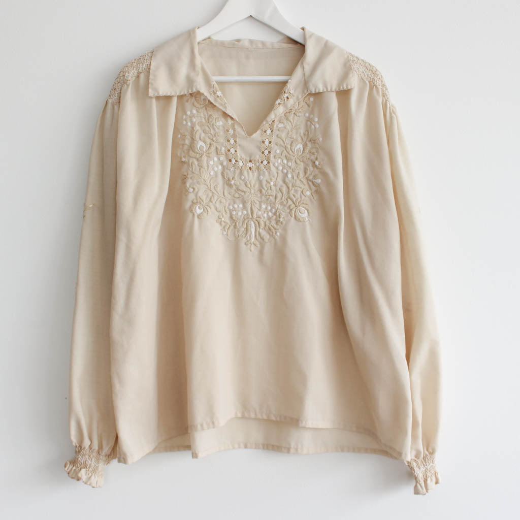 Vintage Smocked Embroidered Romantic Top