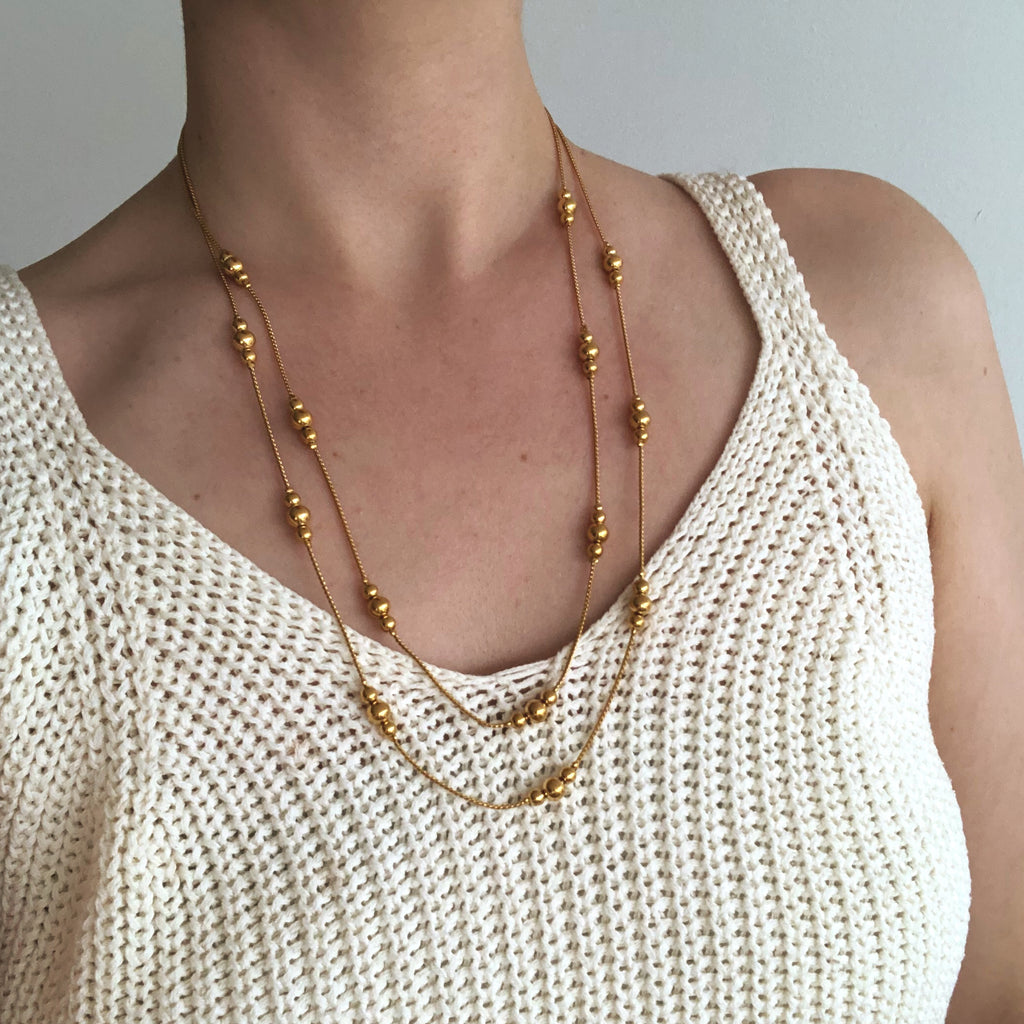 Vintage Golden Beaded Necklace