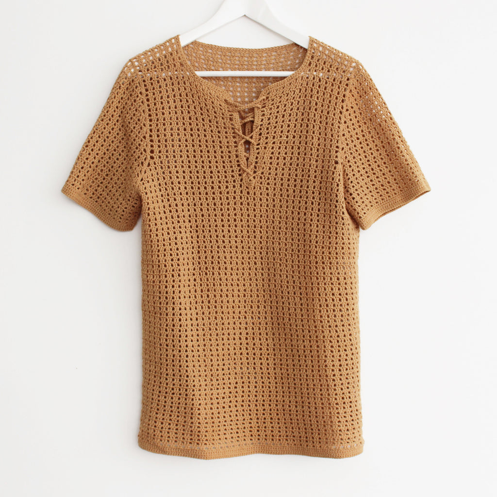 Vintage Knit Tie Up Short Sleeve Top