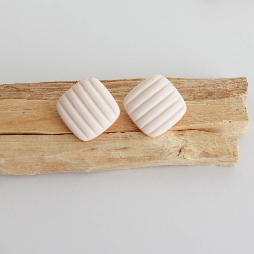 Vintage Pink Stripe Earrings