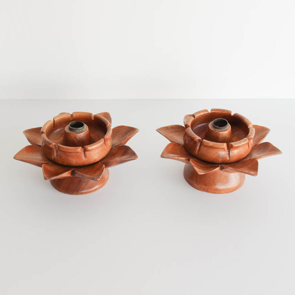 Vintage Wooden Candle Holders
