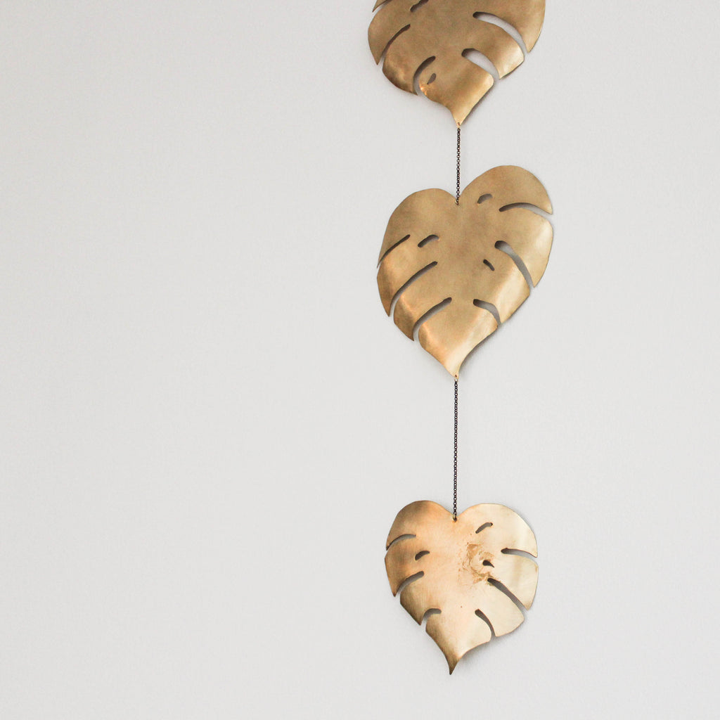 Handmade Brass Monstera Leaf Wall Piece