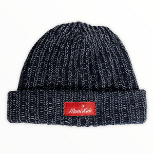 Bar Logo Heavy Knit Beanie (Marbled Navy)
