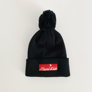 Bar Logo Pom Beanie (Black) | Muni Kids®