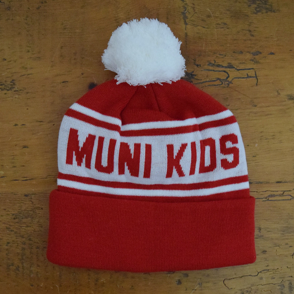 Purist Pom Pom Beanie (Red/White) | Muni Kids®