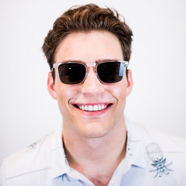 Man wearing crystal acetate sunglasses