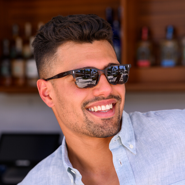 Man wearing amber lens sunglasses