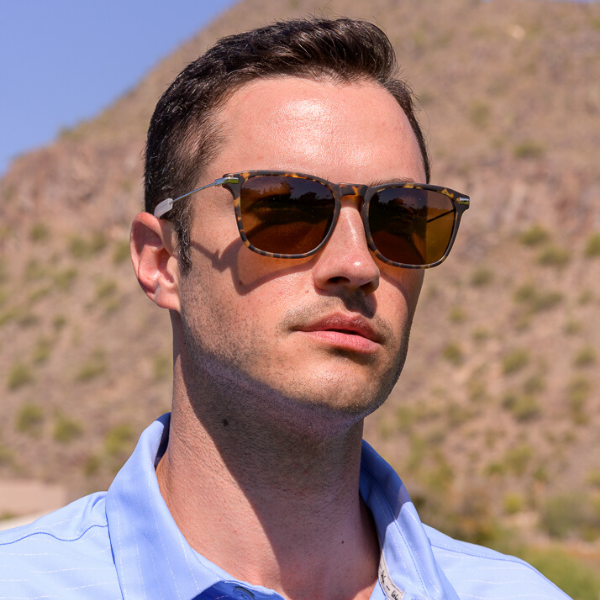 man wearing wayfarer frames