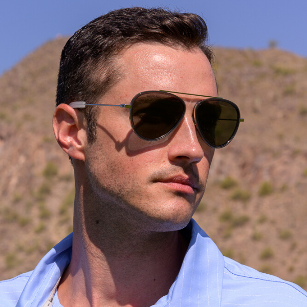 man in aviator sunglasses